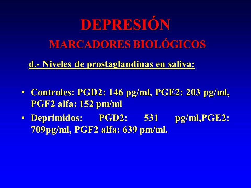DEPRESIÓN MARCADORES BIOLÓGICOS d.- Niveles de prostaglandinas en saliva: d.- Niveles de prostaglandinas en saliva: Controles: PGD2: 146 pg/ml, PGE2: