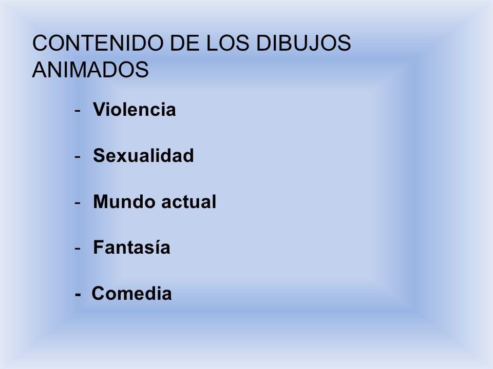 CONTENIDO DE LOS DIBUJOS ANIMADOS - Violencia - Sexualidad - Mundo actual - Fantasía - Comedia