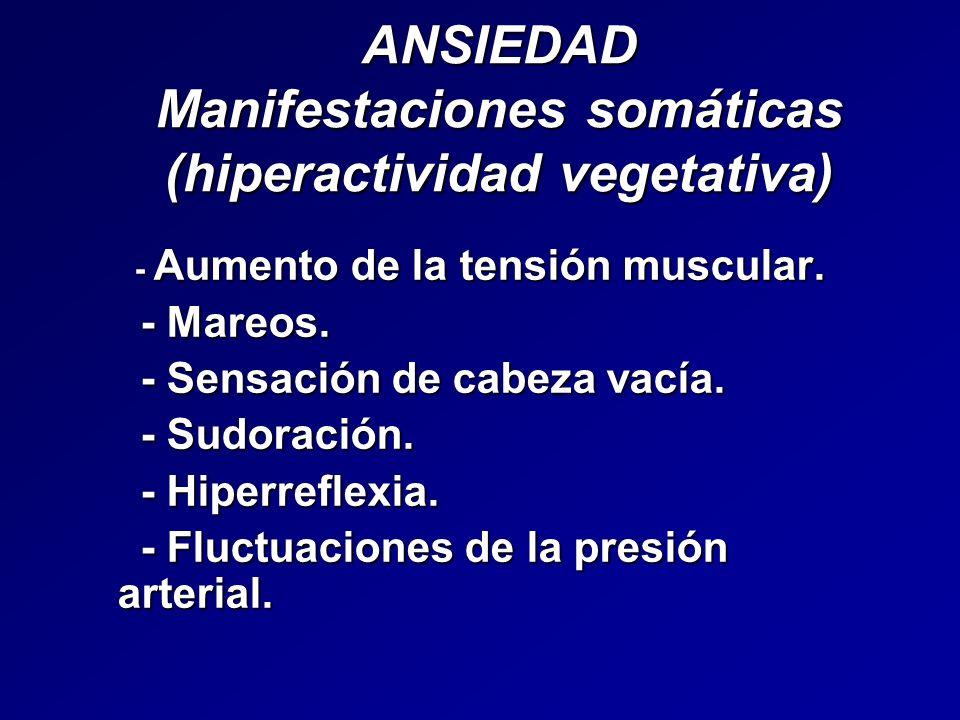 ANSIEDAD Manifestaciones somáticas (hiperactividad vegetativa) - Aumento de la tensión muscular. - Aumento de la tensión muscular. - Mareos. - Mareos.