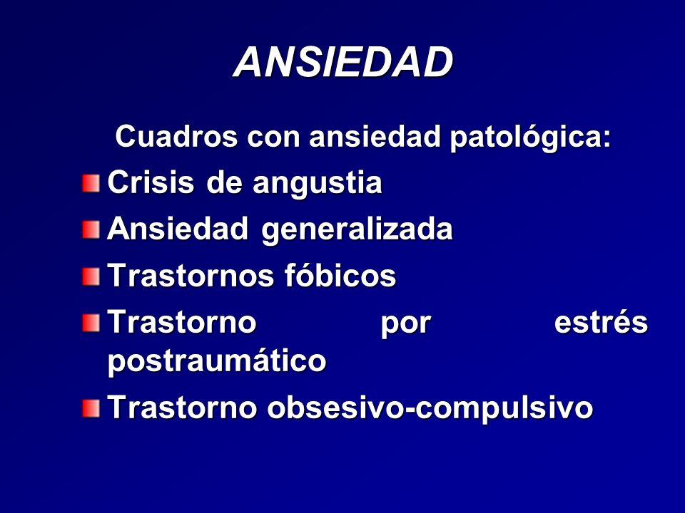 ANSIEDAD Cuadros con ansiedad patológica: Cuadros con ansiedad patológica: Crisis de angustia Ansiedad generalizada Trastornos fóbicos Trastorno por e
