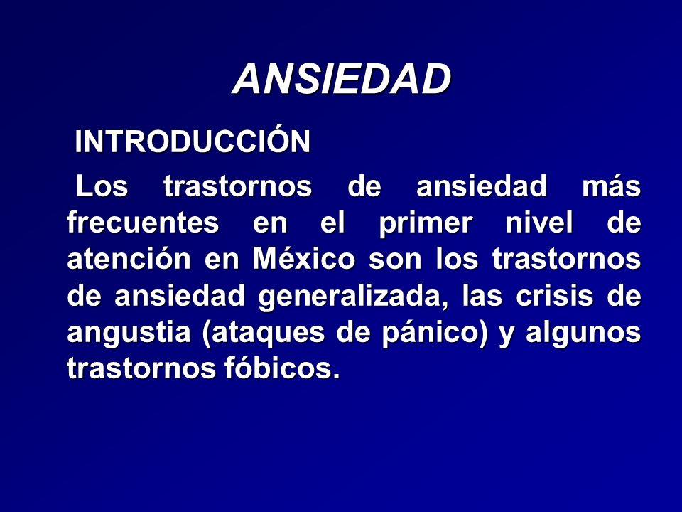 ANSIEDAD EPIDEMIOLOGÍA México (1999): Ansiedad generalizada 3.4% Fobia específica 2.8% Fobia social 2.6% Agorafobia 2.5% Crisis de angustia 1.9% Trastorno Obsesivo Compulsivo 1.4%