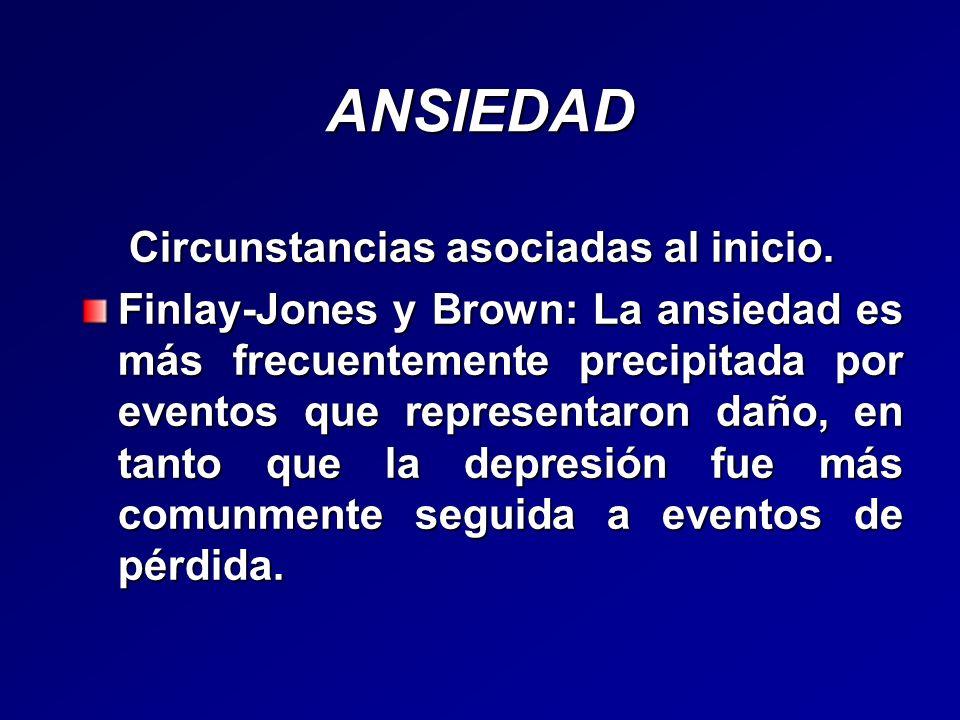 ANSIEDAD Circunstancias asociadas al inicio. Circunstancias asociadas al inicio. Finlay-Jones y Brown: La ansiedad es más frecuentemente precipitada p