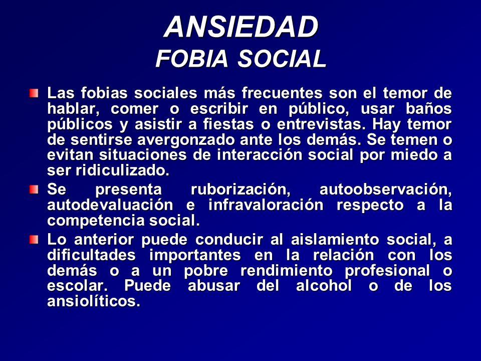 ANSIEDAD FOBIA SOCIAL Las fobias sociales más frecuentes son el temor de hablar, comer o escribir en público, usar baños públicos y asistir a fiestas