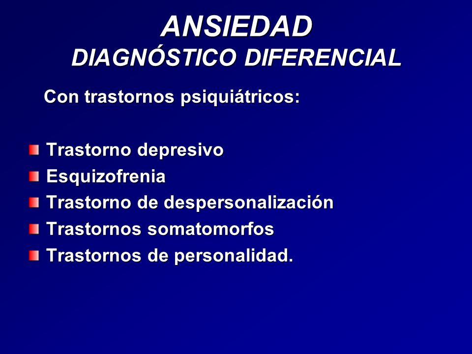 ANSIEDAD DIAGNÓSTICO DIFERENCIAL Con trastornos psiquiátricos: Con trastornos psiquiátricos: Trastorno depresivo Esquizofrenia Trastorno de despersona
