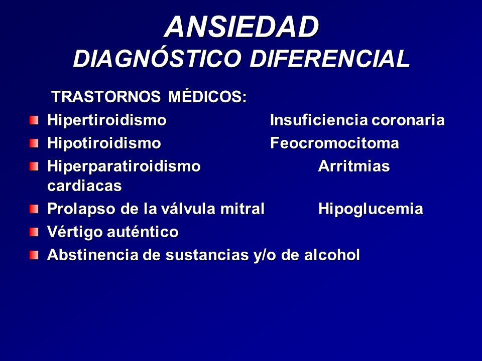 ANSIEDAD DIAGNÓSTICO DIFERENCIAL TRASTORNOS MÉDICOS: TRASTORNOS MÉDICOS: HipertiroidismoInsuficiencia coronaria HipotiroidismoFeocromocitoma Hiperpara