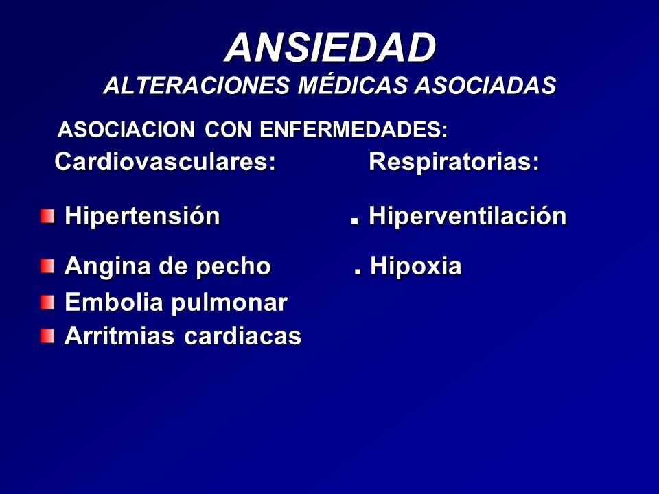 ANSIEDAD ALTERACIONES MÉDICAS ASOCIADAS ASOCIACION CON ENFERMEDADES: ASOCIACION CON ENFERMEDADES: Cardiovasculares: Respiratorias: Cardiovasculares: R