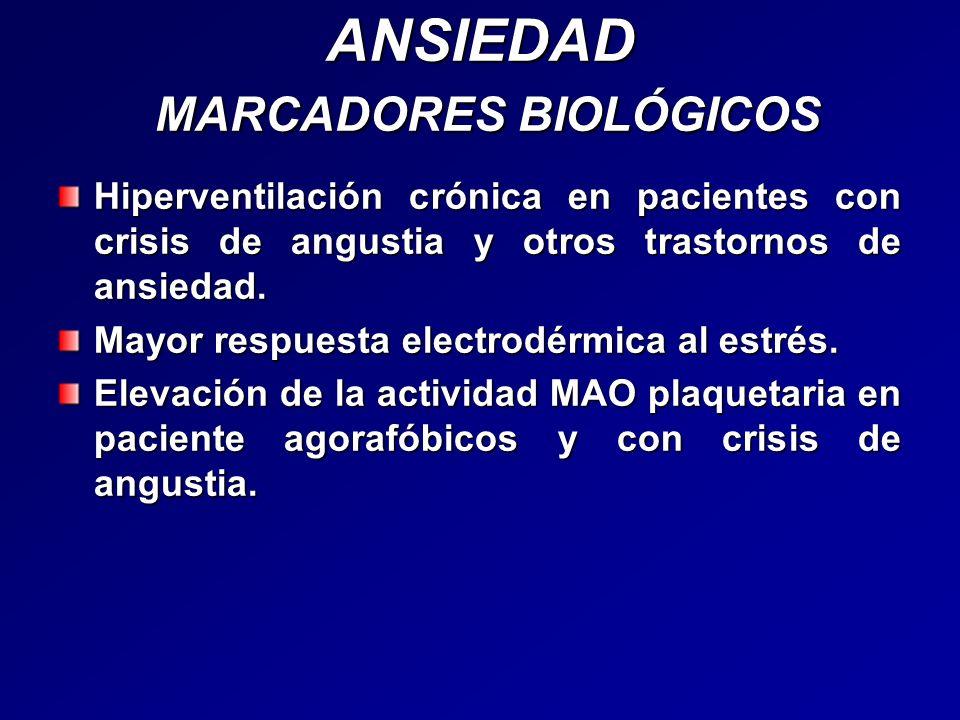 ANSIEDAD MARCADORES BIOLÓGICOS Hiperventilación crónica en pacientes con crisis de angustia y otros trastornos de ansiedad. Mayor respuesta electrodér