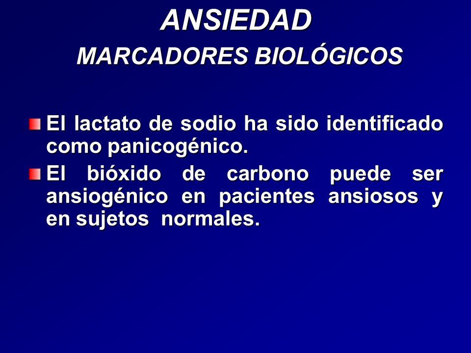 ANSIEDAD MARCADORES BIOLÓGICOS El lactato de sodio ha sido identificado como panicogénico. El bióxido de carbono puede ser ansiogénico en pacientes an