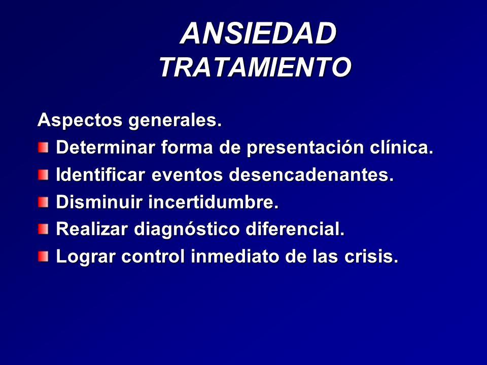 ANSIEDAD TRATAMIENTO ANSIEDAD TRATAMIENTO Aspectos generales. Determinar forma de presentación clínica. Identificar eventos desencadenantes. Disminuir