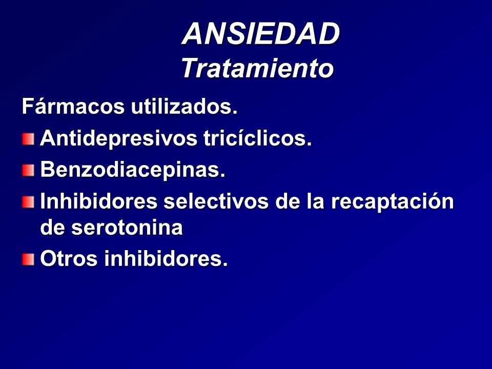 ANSIEDAD Tratamiento ANSIEDAD Tratamiento Fármacos utilizados. Antidepresivos tricíclicos. Benzodiacepinas. Inhibidores selectivos de la recaptación d