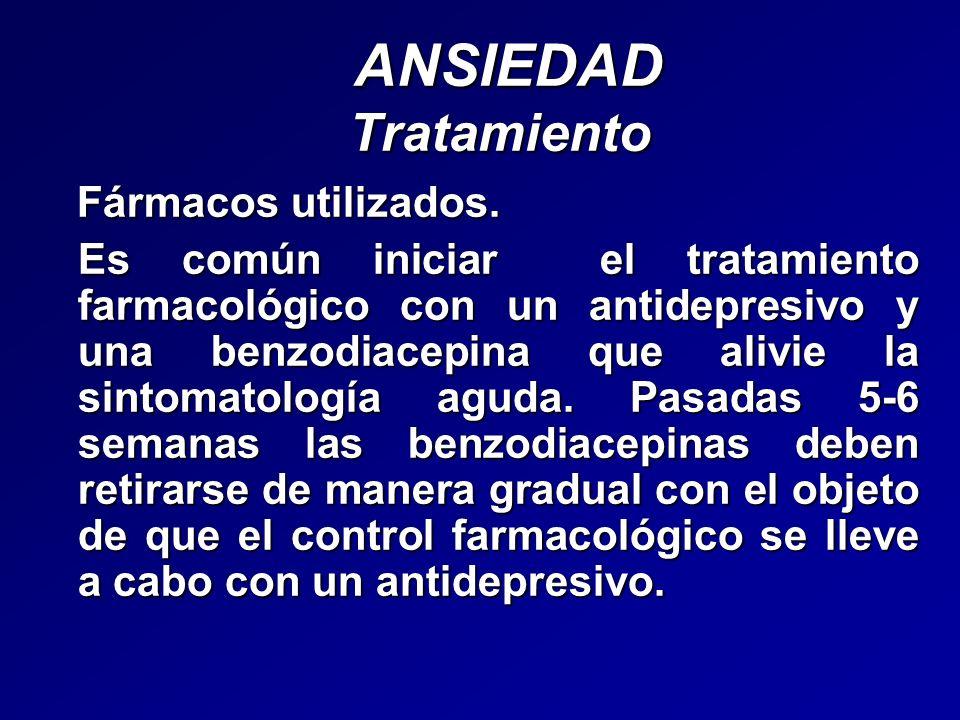 ANSIEDAD Tratamiento ANSIEDAD Tratamiento Fármacos utilizados. Fármacos utilizados. Es común iniciar el tratamiento farmacológico con un antidepresivo