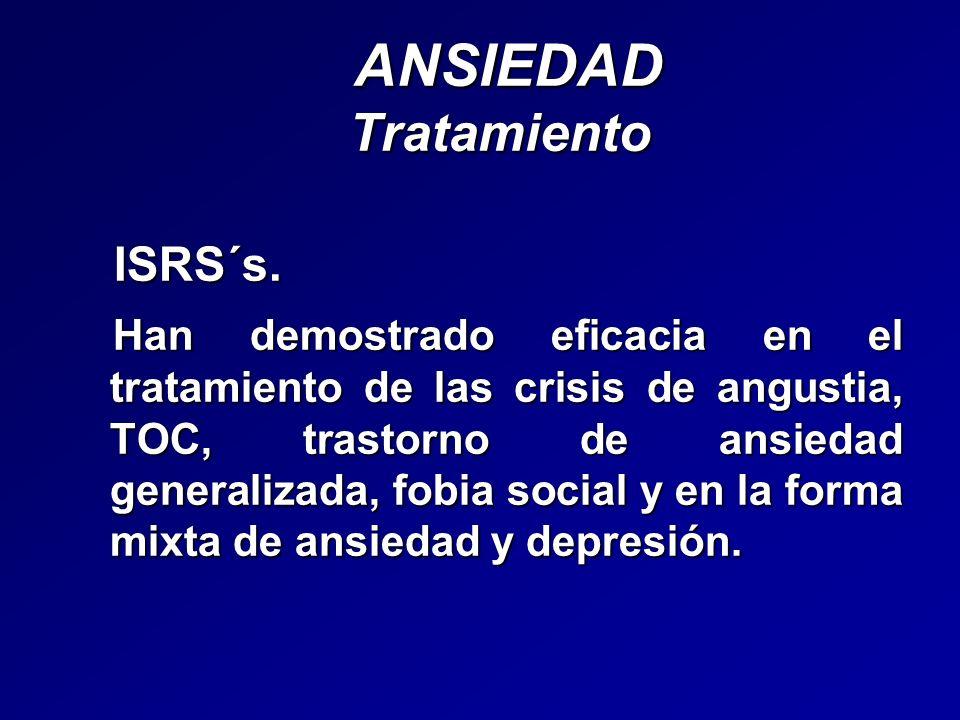 ANSIEDAD Tratamiento ANSIEDAD Tratamiento ISRS´s. ISRS´s. Han demostrado eficacia en el tratamiento de las crisis de angustia, TOC, trastorno de ansie