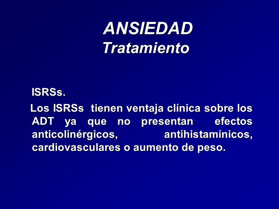 ANSIEDAD Tratamiento ANSIEDAD Tratamiento ISRSs. ISRSs. Los ISRSs tienen ventaja clínica sobre los ADT ya que no presentan efectos anticolinérgicos, a