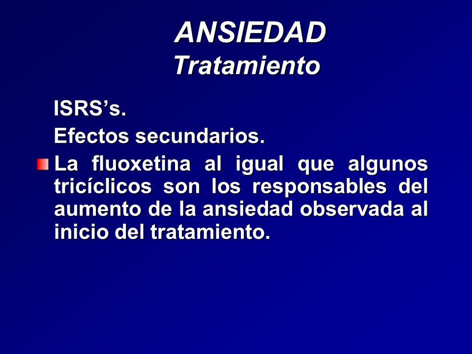 ANSIEDAD Tratamiento ANSIEDAD Tratamiento ISRSs. ISRSs. Efectos secundarios. Efectos secundarios. La fluoxetina al igual que algunos tricíclicos son l
