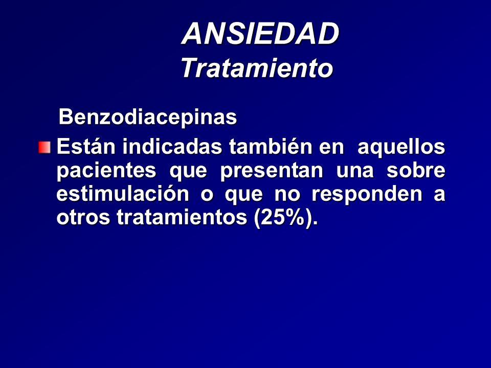 ANSIEDAD Tratamiento ANSIEDAD Tratamiento Benzodiacepinas Benzodiacepinas Están indicadas también en aquellos pacientes que presentan una sobre estimu