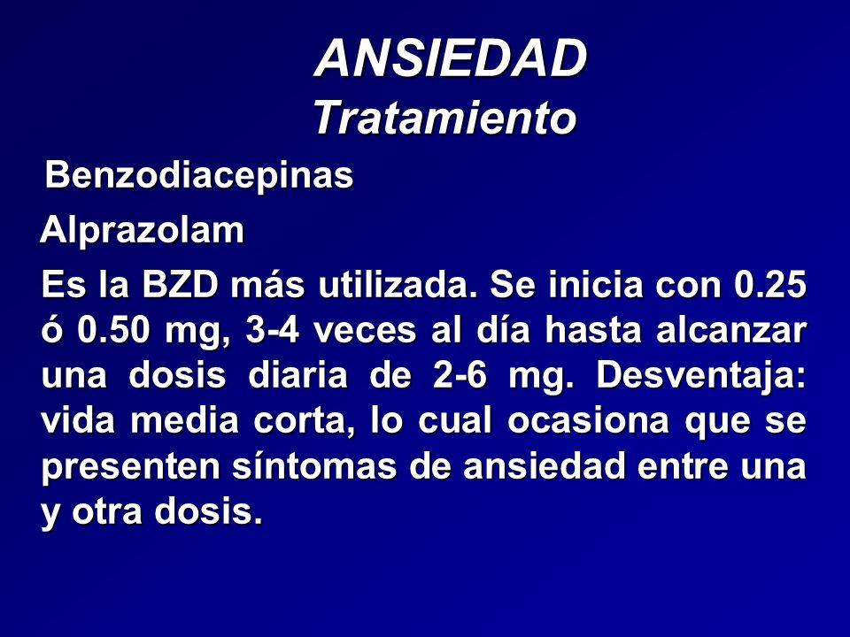 ANSIEDAD Tratamiento ANSIEDAD Tratamiento Benzodiacepinas Benzodiacepinas Alprazolam Alprazolam Es la BZD más utilizada. Se inicia con 0.25 ó 0.50 mg,