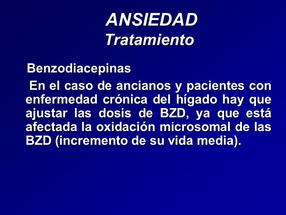 ANSIEDAD Tratamiento ANSIEDAD Tratamiento Benzodiacepinas Benzodiacepinas En el caso de ancianos y pacientes con enfermedad crónica del hígado hay que