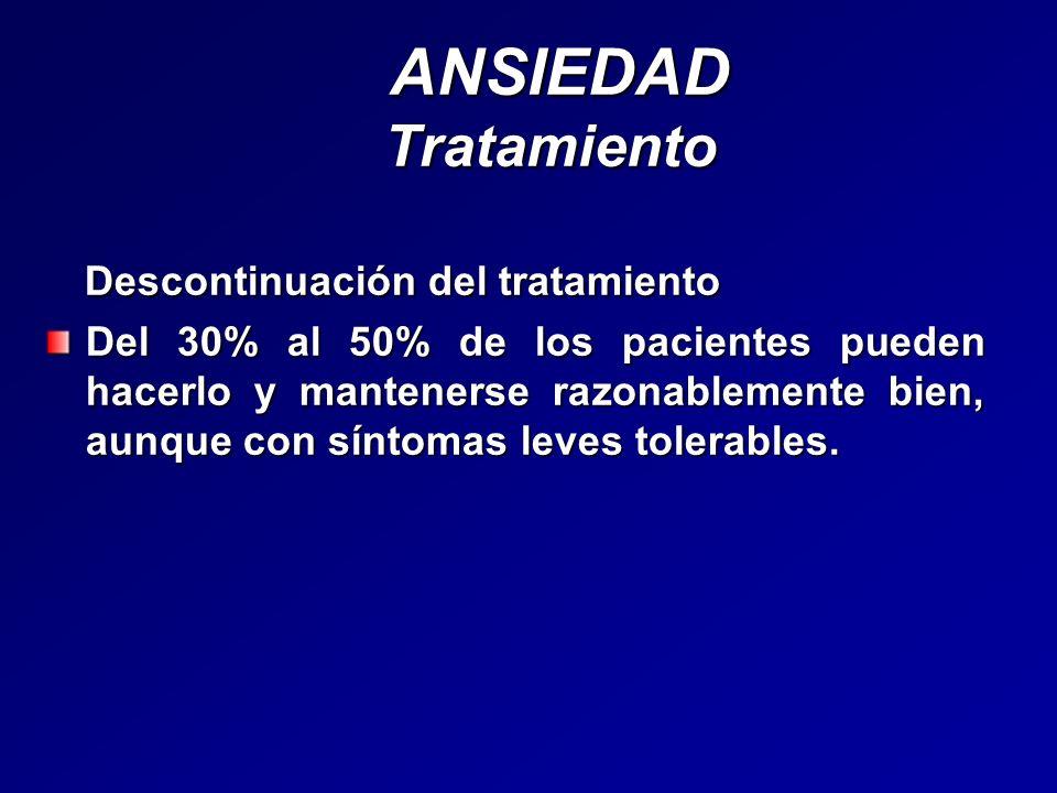 ANSIEDAD Tratamiento ANSIEDAD Tratamiento Descontinuación del tratamiento Descontinuación del tratamiento Del 30% al 50% de los pacientes pueden hacer