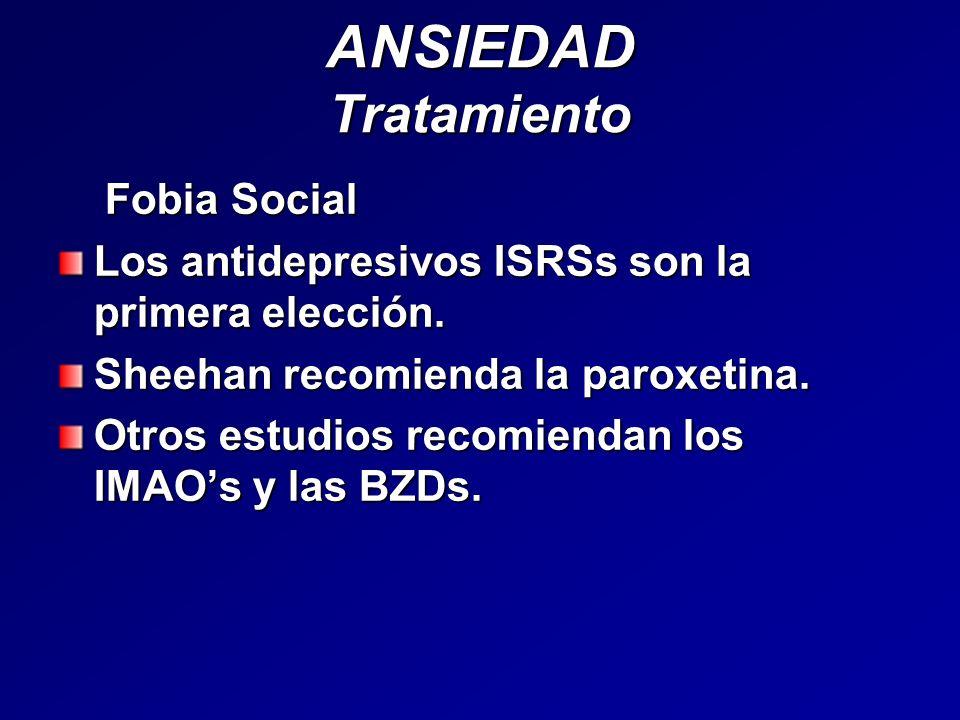 ANSIEDAD Tratamiento Fobia Social Fobia Social Los antidepresivos ISRSs son la primera elección. Sheehan recomienda la paroxetina. Otros estudios reco