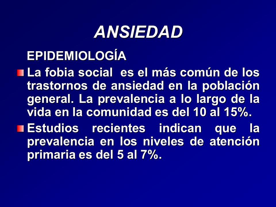 ANSIEDAD EPIDEMIOLOGÍA EPIDEMIOLOGÍA La fobia social es el más común de los trastornos de ansiedad en la población general. La prevalencia a lo largo