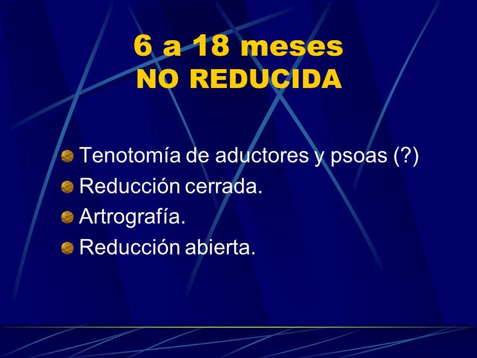 6 a 18 meses NO REDUCIDA Tenotomía de aductores y psoas (?) Reducción cerrada. Artrografía. Reducción abierta.