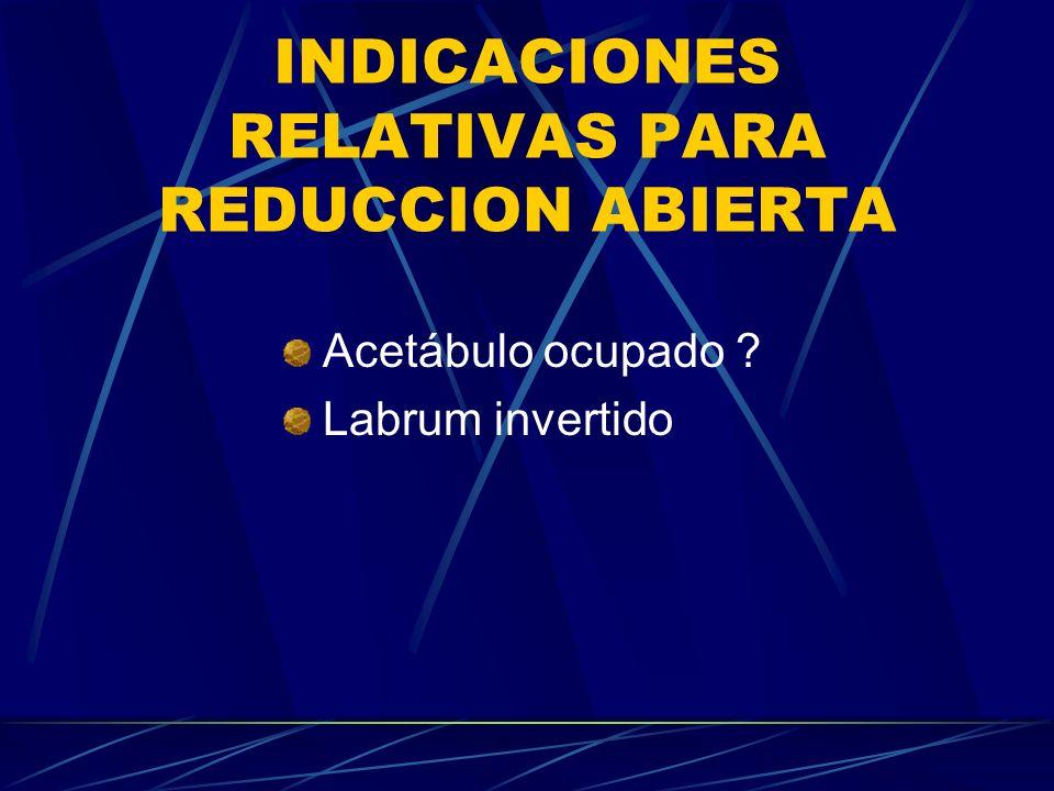 INDICACIONES RELATIVAS PARA REDUCCION ABIERTA Acetábulo ocupado ? Labrum invertido
