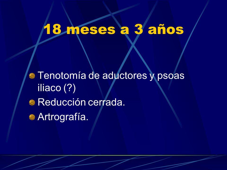 18 meses a 3 años Tenotomía de aductores y psoas iliaco (?) Reducción cerrada. Artrografía.