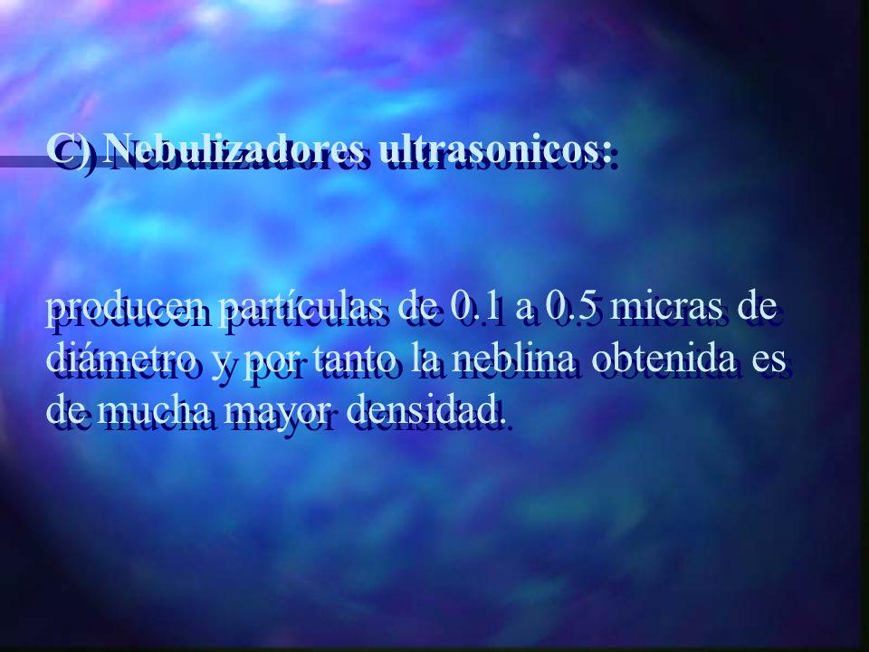 B)Micronebulizadores: producen partículas mas pequeñas (1 a 3 micras) y son muy útiles para administrar medicamentos B)Micronebulizadores: producen pa