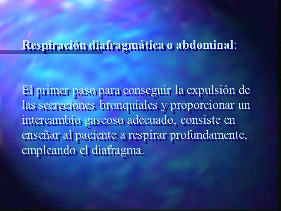 Fisioterapia Pulmonar: Su fundamento fisiológico consiste en enseñar cómo conseguir una adecuada relajación de los músculos respiratorios para consegu