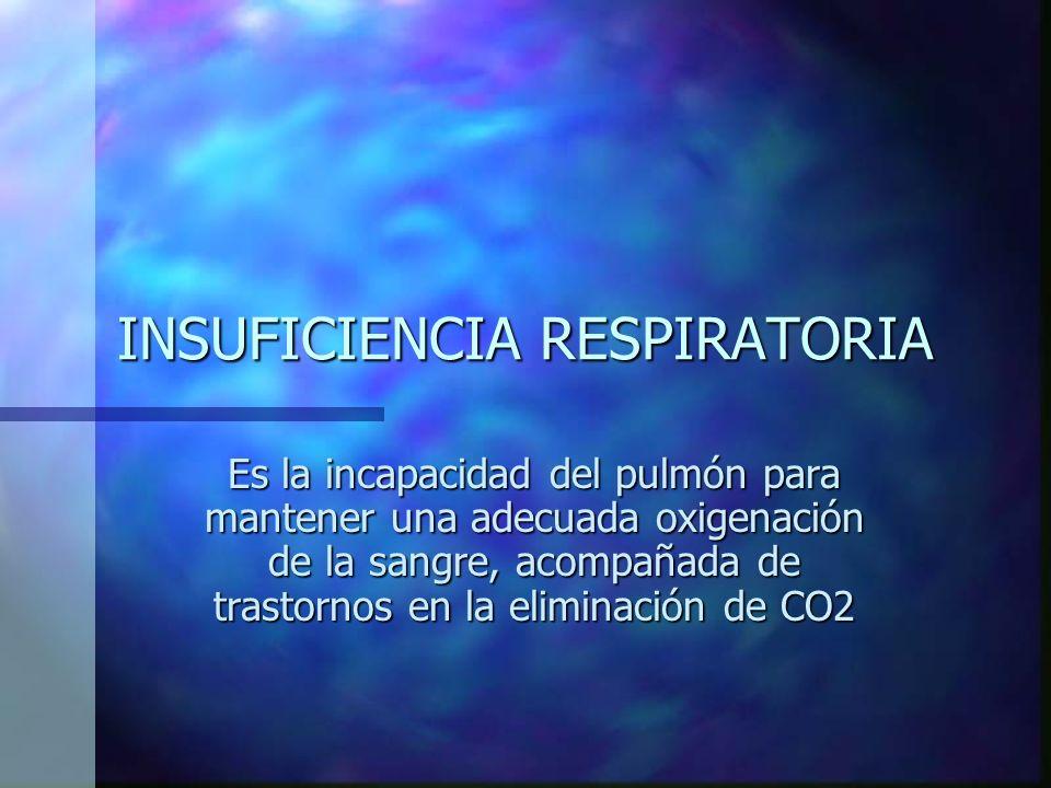 INSUFICIENCIA RESPIRATORIA Es la incapacidad del pulmón para mantener una adecuada oxigenación de la sangre, acompañada de trastornos en la eliminación de CO2