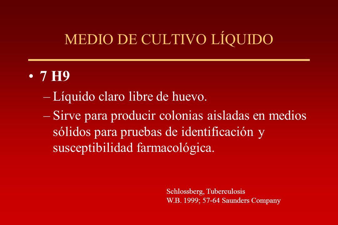 MEDIO DE CULTIVO LÍQUIDO 7 H9 –Líquido claro libre de huevo. –Sirve para producir colonias aisladas en medios sólidos para pruebas de identificación y