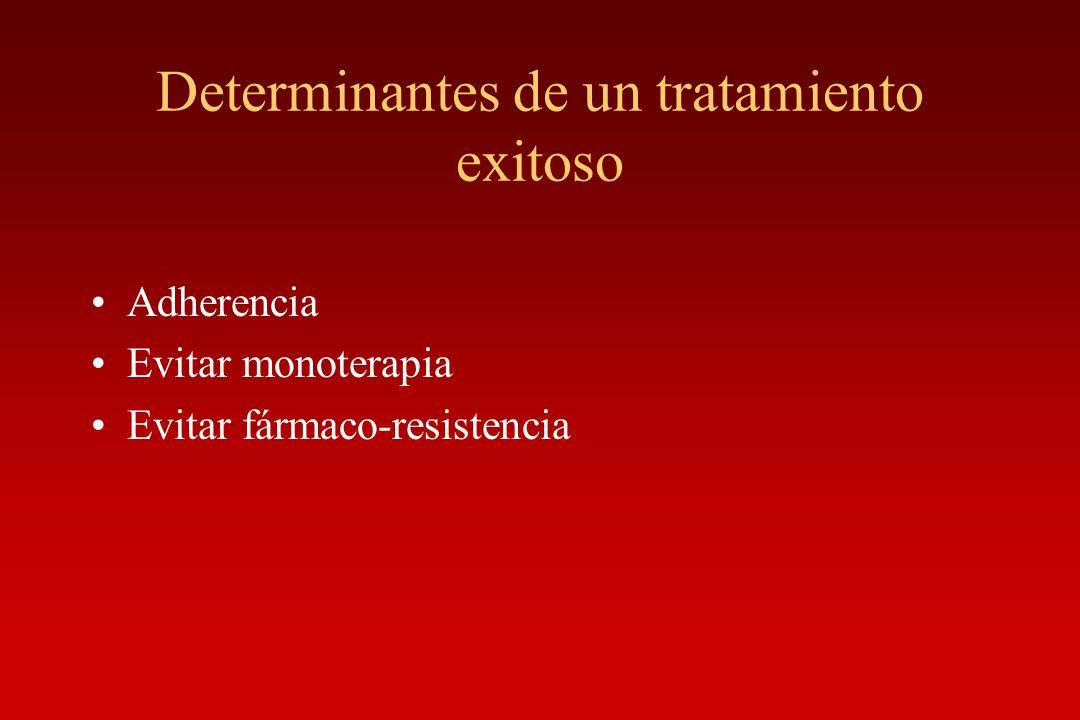Determinantes de un tratamiento exitoso Adherencia Evitar monoterapia Evitar fármaco-resistencia