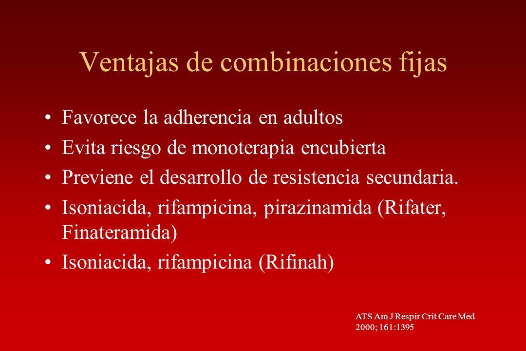 Ventajas de combinaciones fijas Favorece la adherencia en adultos Evita riesgo de monoterapia encubierta Previene el desarrollo de resistencia secunda