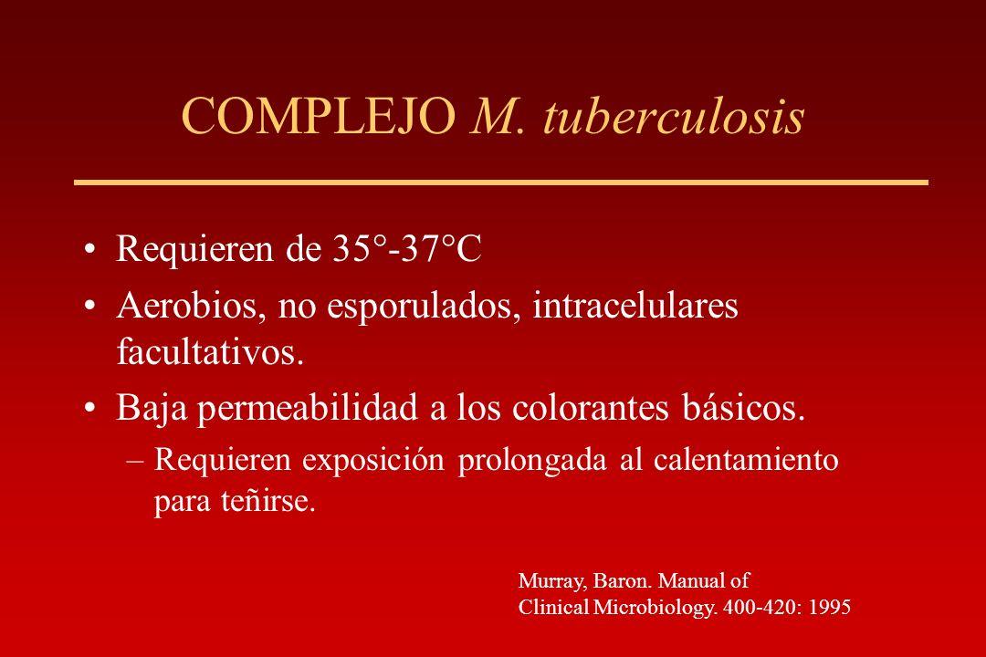 COMPLEJO M. tuberculosis Requieren de 35°-37°C Aerobios, no esporulados, intracelulares facultativos. Baja permeabilidad a los colorantes básicos. –Re