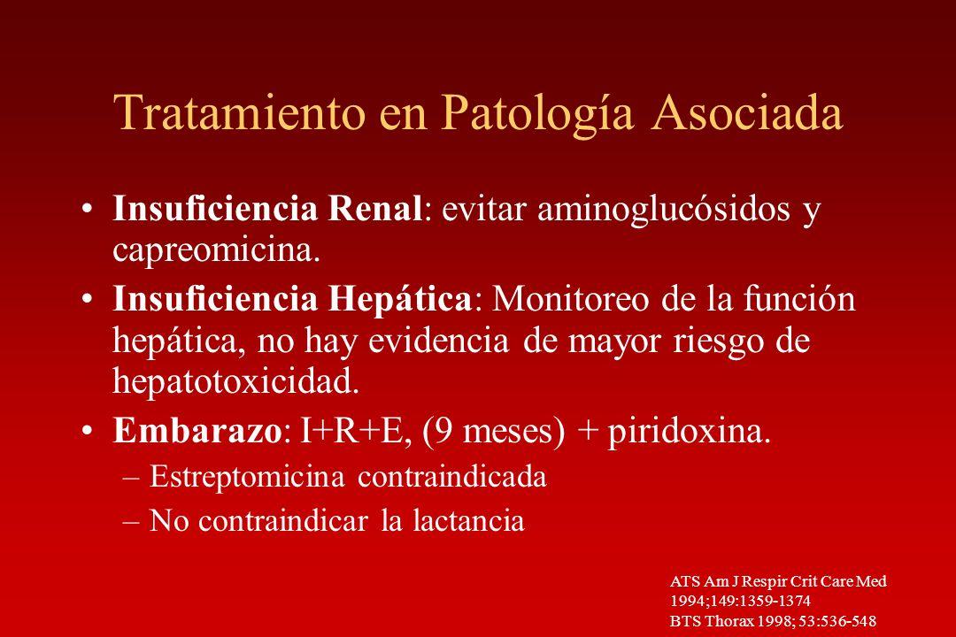 Tratamiento en Patología Asociada Insuficiencia Renal: evitar aminoglucósidos y capreomicina. Insuficiencia Hepática: Monitoreo de la función hepática