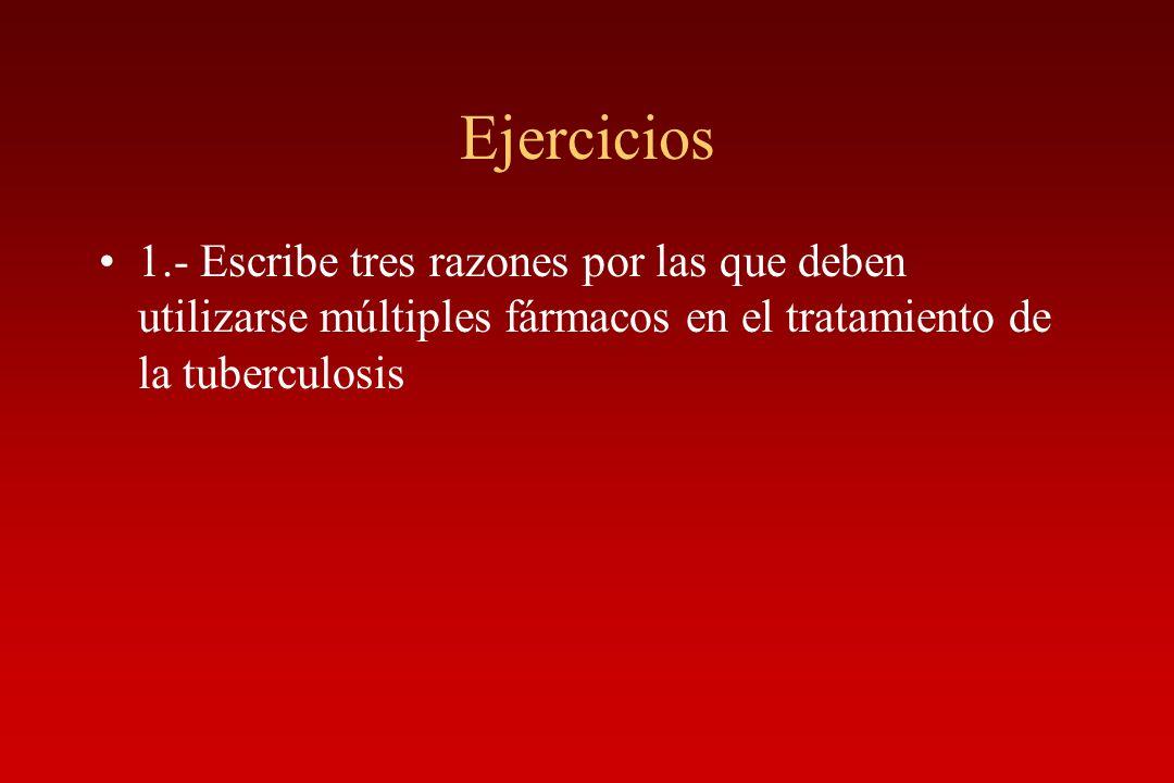 Ejercicios 1.- Escribe tres razones por las que deben utilizarse múltiples fármacos en el tratamiento de la tuberculosis