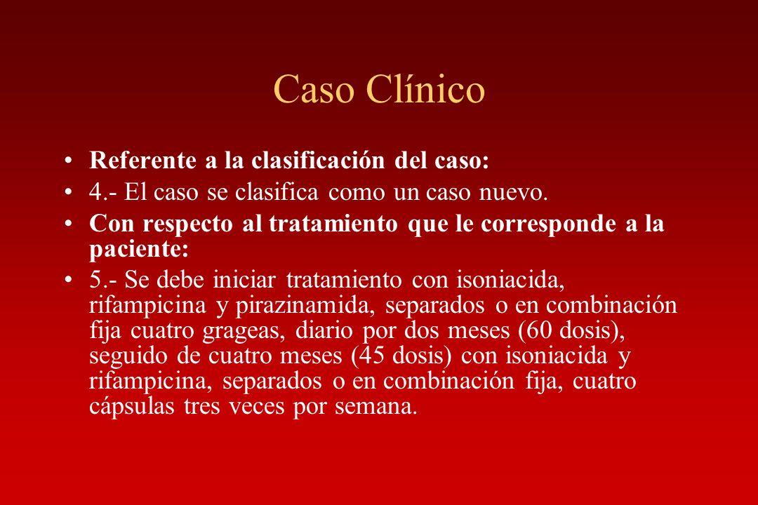 Caso Clínico Referente a la clasificación del caso: 4.- El caso se clasifica como un caso nuevo. Con respecto al tratamiento que le corresponde a la p