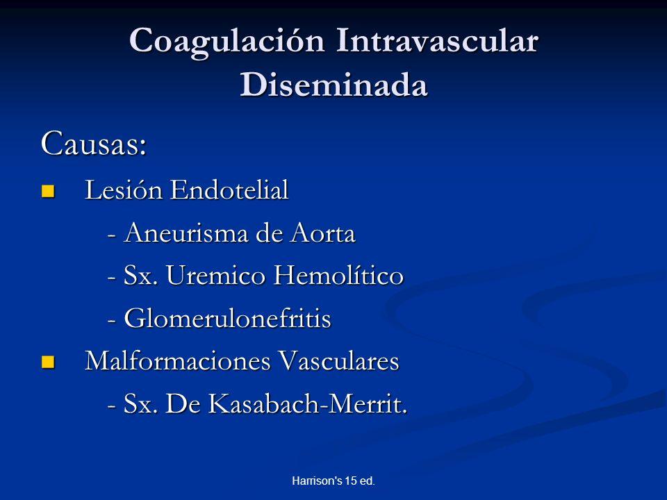 Harrison's 15 ed. Coagulación Intravascular Diseminada Causas: Lesión Endotelial Lesión Endotelial - Aneurisma de Aorta - Sx. Uremico Hemolítico - Glo