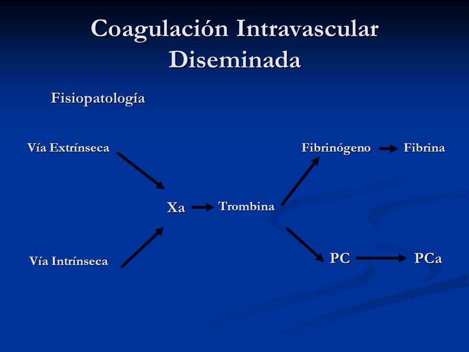 Coagulación Intravascular Diseminada Fisiopatología Vía Extrínseca Vía Intrínseca XaTrombina Fibrinógeno PCPCa Fibrina