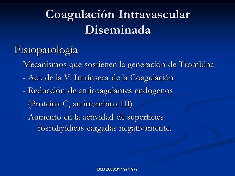 BMJ 2003;317:974-977 Coagulación Intravascular Diseminada Fisiopatología Mecanismos que sostienen la generación de Trombina - Act. de la V. Intrínseca