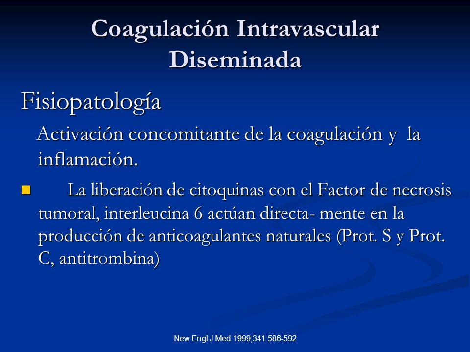 New Engl J Med 1999;341:586-592 Coagulación Intravascular Diseminada Fisiopatología Activación concomitante de la coagulación y la inflamación.