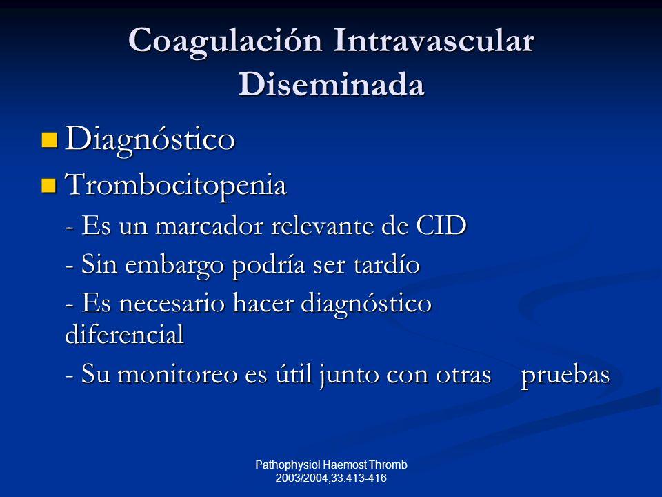 Pathophysiol Haemost Thromb 2003/2004;33:413-416 Coagulación Intravascular Diseminada Diagnóstico Diagnóstico Trombocitopenia Trombocitopenia - Es un marcador relevante de CID - Sin embargo podría ser tardío - Es necesario hacer diagnóstico diferencial - Su monitoreo es útil junto con otras pruebas