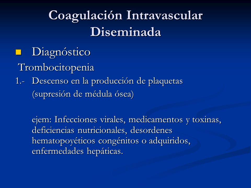 Coagulación Intravascular Diseminada Diagnóstico Diagnóstico Trombocitopenia Trombocitopenia 1.-Descenso en la producción de plaquetas (supresión de m