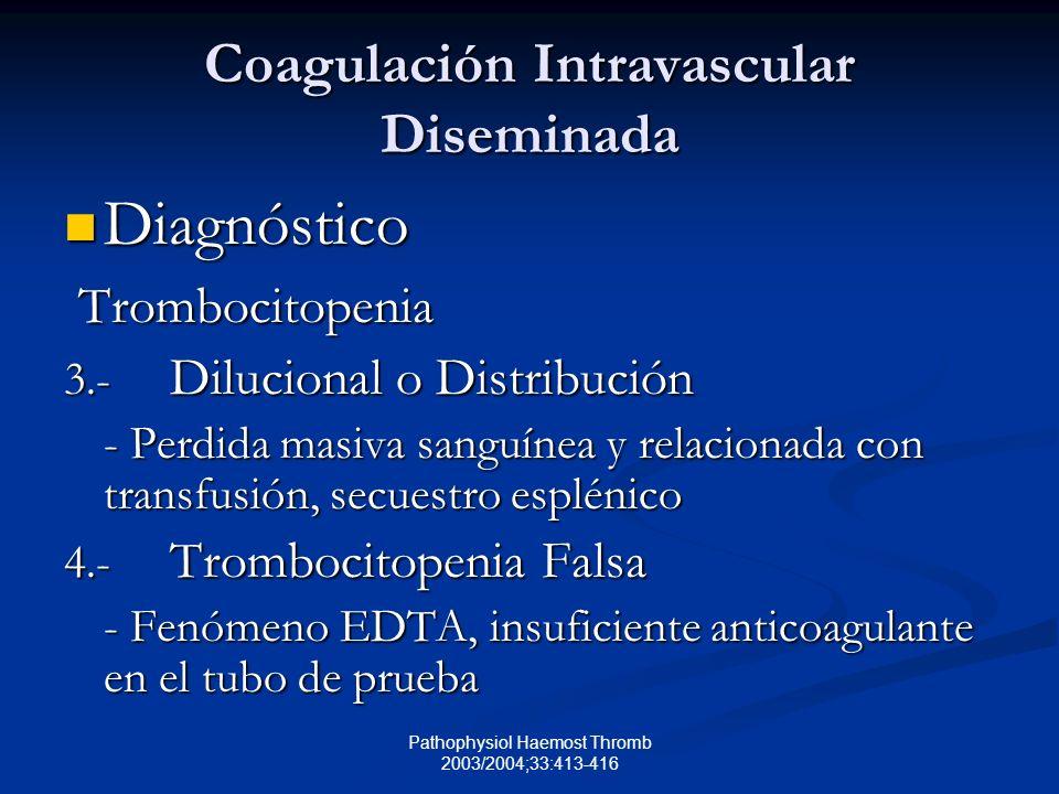 Pathophysiol Haemost Thromb 2003/2004;33:413-416 Coagulación Intravascular Diseminada Diagnóstico Diagnóstico Trombocitopenia Trombocitopenia 3.- Dilucional o Distribución - Perdida masiva sanguínea y relacionada con transfusión, secuestro esplénico 4.- Trombocitopenia Falsa - Fenómeno EDTA, insuficiente anticoagulante en el tubo de prueba