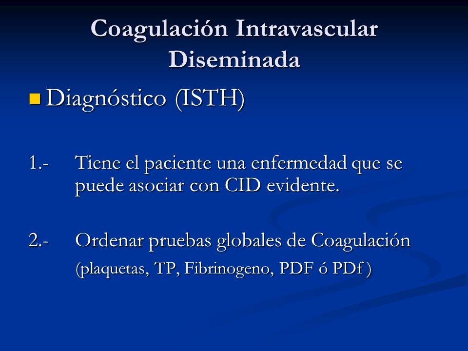 Coagulación Intravascular Diseminada Diagnóstico (ISTH) Diagnóstico (ISTH) 1.-Tiene el paciente una enfermedad que se puede asociar con CID evidente.