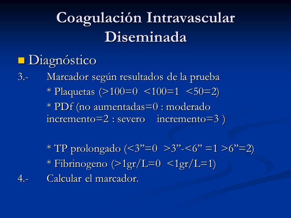 Coagulación Intravascular Diseminada Diagnóstico Diagnóstico 3.-Marcador según resultados de la prueba * Plaquetas (>100=0 100=0 <100=1 <50=2) * PDf (no aumentadas=0 : moderado incremento=2 : severo incremento=3 ) * TP prolongado ( 3- 6=2) * Fibrinogeno (>1gr/L=0 1gr/L=0 <1gr/L=1) 4.-Calcular el marcador.