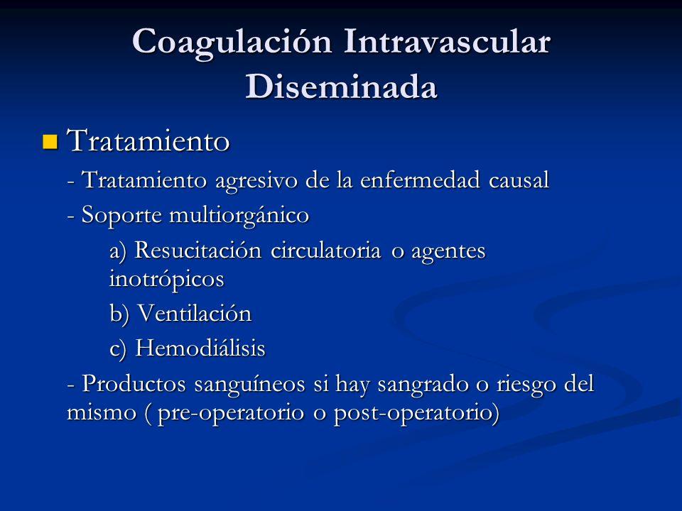 Tratamiento Tratamiento - Tratamiento agresivo de la enfermedad causal - Soporte multiorgánico a) Resucitación circulatoria o agentes inotrópicos b) Ventilación c) Hemodiálisis - Productos sanguíneos si hay sangrado o riesgo del mismo ( pre-operatorio o post-operatorio)
