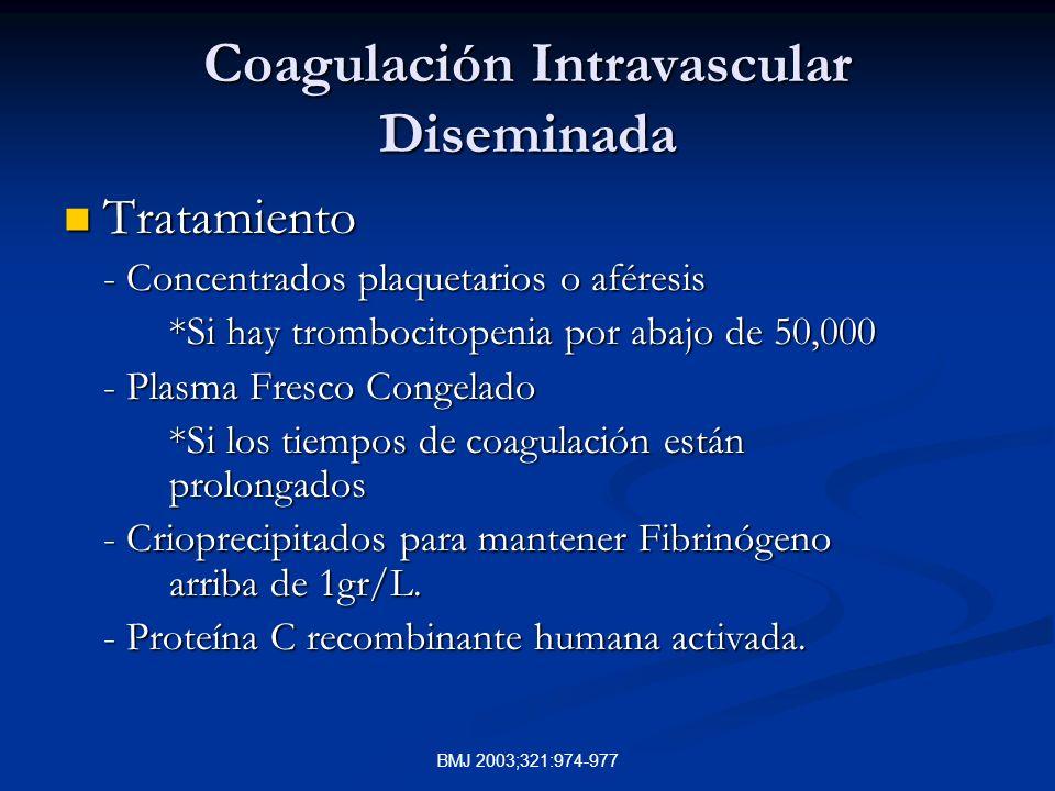 BMJ 2003;321:974-977 Coagulación Intravascular Diseminada Tratamiento Tratamiento - Concentrados plaquetarios o aféresis *Si hay trombocitopenia por abajo de 50,000 - Plasma Fresco Congelado *Si los tiempos de coagulación están prolongados - Crioprecipitados para mantener Fibrinógeno arriba de 1gr/L.