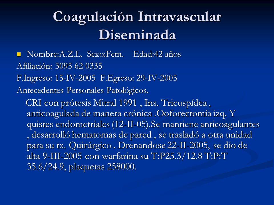Coagulación Intravascular Diseminada Nombre:A.Z.L.