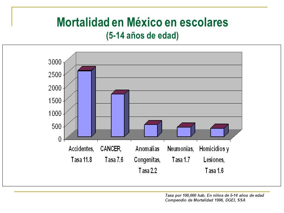 Mortalidad en México en escolares (5-14 años de edad) Tasa por 100,000 hab. En niños de 5-14 años de edad Compendio de Mortalidad 1996, DGEI, SSA